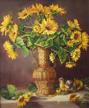 Sunflowers in Wicker Vase
